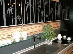 Bamboo glass pattern cupboard doors