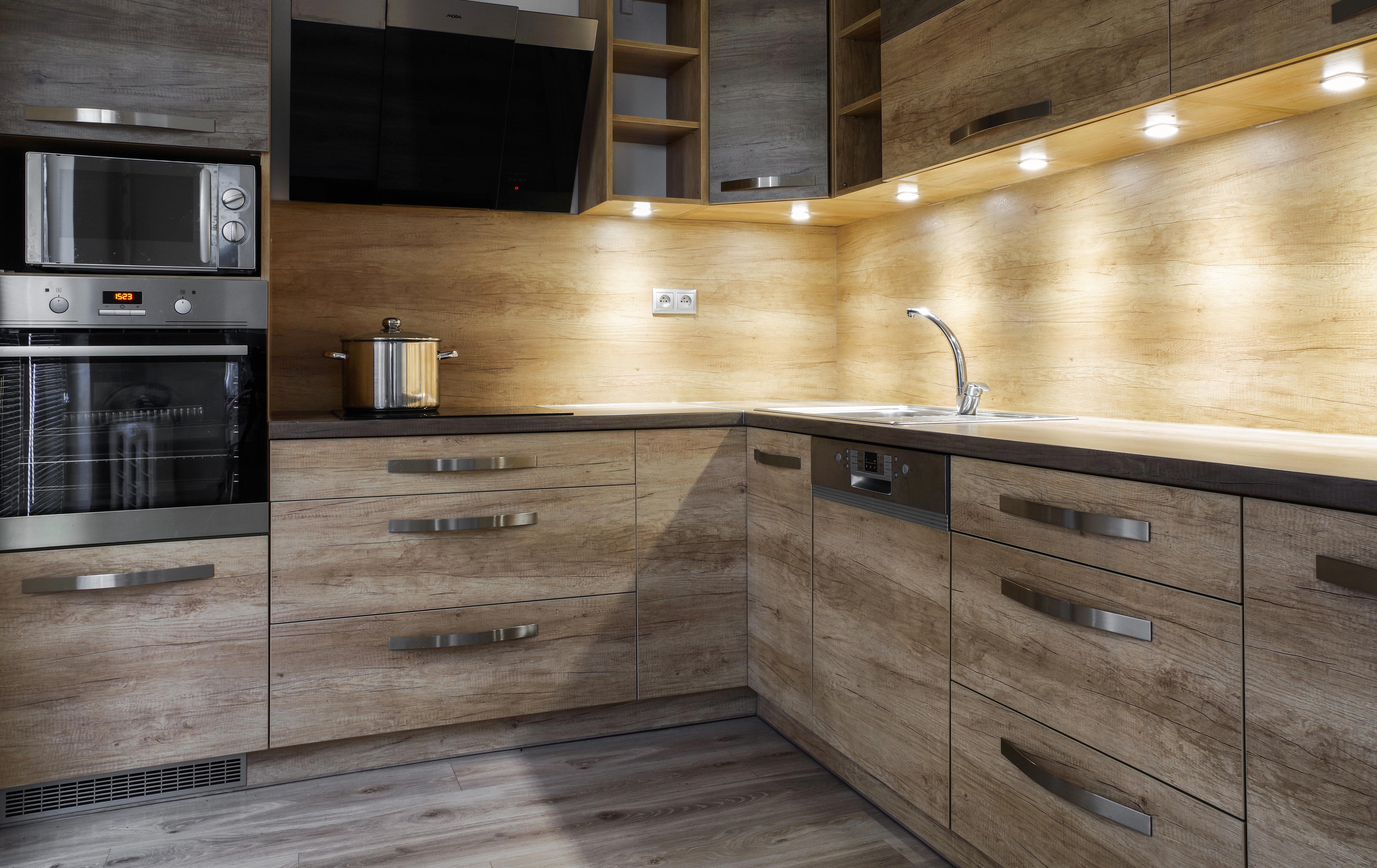 brushed oak paneled kitchen