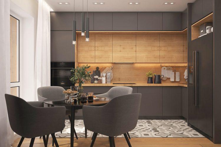 modern kitchen design in Grey gloss